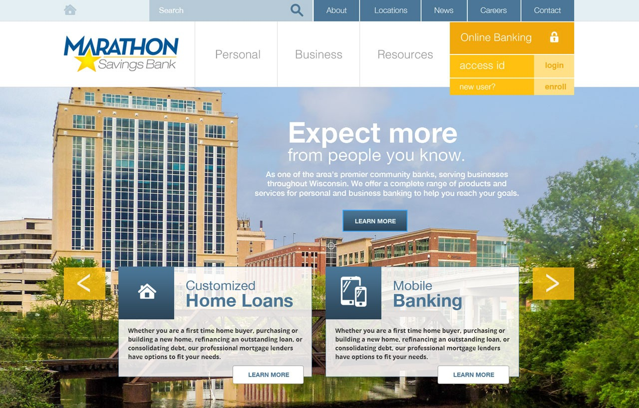 screenshot of Marathon Savings Bank website