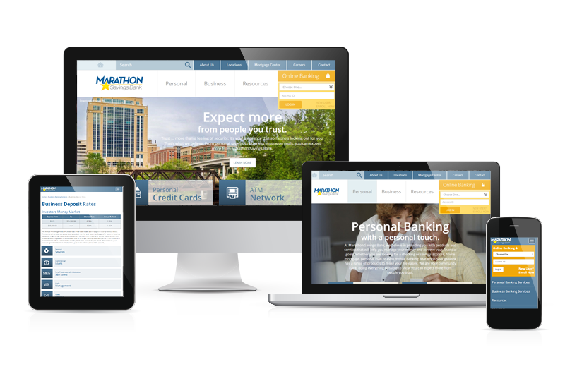 mockup of Marathon Savings Bank site